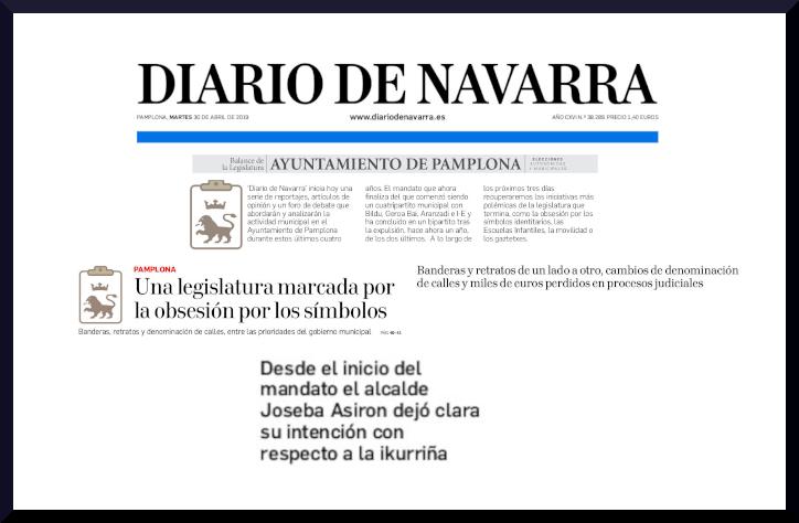Una legislatura marcada por la obsesión del Diario de Navarra por los símbolos