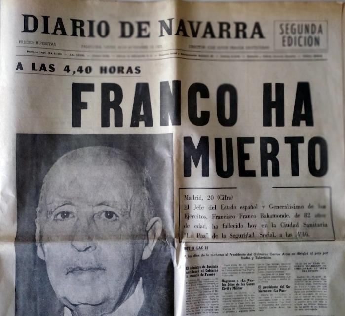 """El  """"Diario  de  Navarra""""  siguió  halagando  a  Franco  tras  su  muerte"""